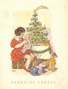 Marie Kvěchová-Fischerová 1945 Christmas Illustration, Illustration Art, Christmas Cards, Christmas Tree, Holiday Tree, Fairy Tales, Animation, Fantasy, Drawing