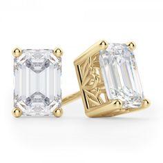 2 Ct Emerald Princess Cut Stud Earrings 14Kt Yellow Gold