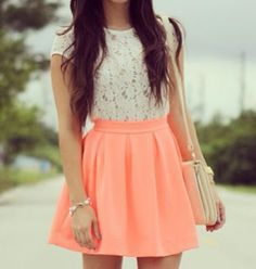 Springtime. floral-lace top w/ a peachy coral mid length skirt pulled up