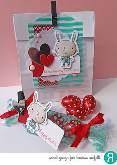 Spring Treats by Sarah Gough. Reverse Confetti stamp set: Hippity Hoppity. Confetti Cuts: Hippity Hoppity, Double Panel Hearts, Gift Card Tag Holder, and In the Bag. Easter Treats. DIY Easter.