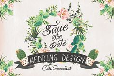 Wedding graphic set with succulents - Illustrations - 1