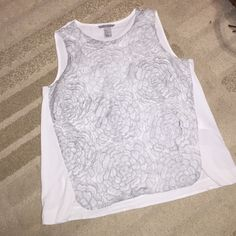 WHITE & GRAY LACE TANK TOP!  White and gray H&M tank top! Lightweight and perfect to wear out on the town or to the office! Worn a twice, lost tags. Could fit a smaller or larger size depends on how you want to wear the top! Submit me an offer! NO TRADES.  H&M Tops