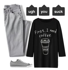 """""""Cocky Or Coffee?"""" by spellrox ❤ liked on Polyvore featuring Lands' End and Converse"""