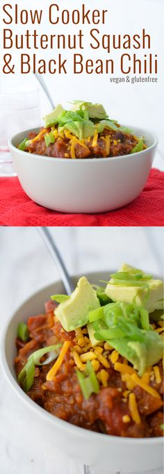 Slow Cooker Butternut Squash and Black Bean Chili! Vegan and Gluten-Free, perfect for cold nights. Put it on in the morning and dinner is ready a few hours later! | www.delishknowledge.com