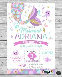 LITTLE MERMAID INVITATIONS INVITE 1ST FIRST BIRTHDAY PARTY SUPPLIES POOL OCEAN #CUSTOMINVITATION #Birthday www.lollipoppartysupplies.com.au