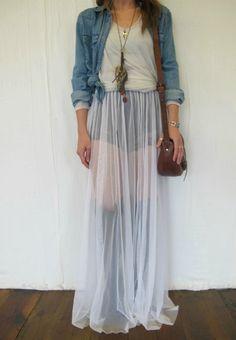 Sheer skirt, Denim button down, and sling purse.
