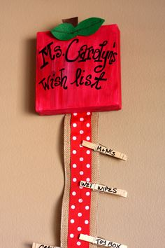 Personalized Hand Painted Teacher Name Sign Wish List. Classroom Wish List. Teacher Gift. Red and White Polka Dot. $16.00, via Etsy.