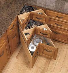 Kitchen corner drawers diy 70 ideas for 2019 Diy Kitchen Storage, Home Decor Kitchen, Kitchen Furniture, Kitchen Ideas, Kitchen Organization, Cabinet Storage, Kitchen Themes, Cabinet Ideas, Organization Ideas