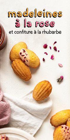 Ça va sentir la rose dans la maisonnée avec cette recette de biscuits madeleines accompagnés de confiture à la rhubarbe. Biscuit Cookies, Yummy Cookies, No Bake Desserts, Dessert Recipes, Patisserie Fine, Biscuits, Sweet Breakfast, Afternoon Tea, Dairy Free