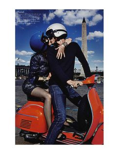 Clement Chabernaud and Aymeline Valade for Vogue Paris by Mario Sorrenti Paris Mon Amour. Piaggio Vespa, Vespa Lambretta, Mario Sorrenti, Vespa Girl, Scooter Girl, Motor Scooters, Vespa Scooters, Moped Scooter, Vogue Paris