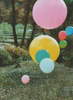Use various sizes / colours to create a whimsical balloon landscape #balloons