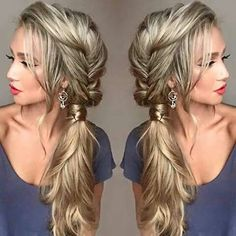 Messy Fishtail Braid into a Side Ponytail hairstyles long 21 Pretty Side-Swept Hairstyles for Prom Messy Fishtail Braids, Side Braid Ponytail, Side Ponytails, Side Ponytail Wedding, Low Chignon, Messy Side Braids, Braided Updo, Braid To The Side, Side Braid With Curls