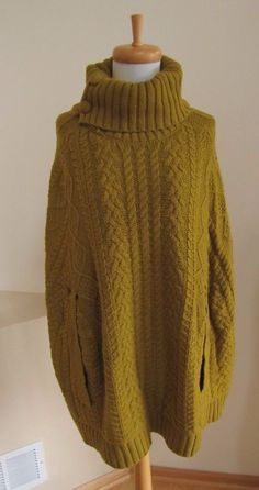 Anthropologie Sweater M L Cabled Knit Cocoon Cape Poncho Fiets Voor Chartreuse #Anthropologie #Poncho #casual
