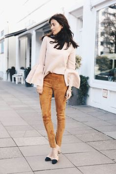 baby pink ruffled blouse, camel suede high waisted pants, black toe sling backs, love.