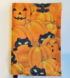 Halloween Fabric Paperback Book Cover Cats by momssewingroom