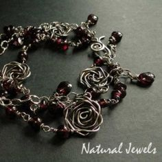 Roses and Garnet - Sterling Silver Bracelet with gemstone Red Garnet - Made by Natural Jewels