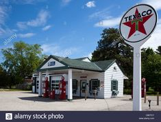 The Ambler-Becker Texaco Station operated longer than any service station on U. Route 66 in Dwight, Illinois. Today it is a visitor center for the town. Acrylic Painting Trees, Gas Service, Old Garage, Old Gas Stations, Porcelain Signs, Texaco, Gas Pumps, Route 66, Illinois