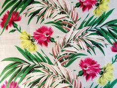 Mid Century Magic  Floral Barkcloth Masterpiece// Vintage Cotton Fabric//  Yardage// New Old Stock