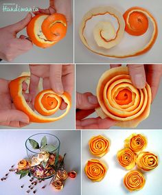 orange peel flowers - I bet they smell so good! could do the same thing with lemons and limes for a spring bouquet!
