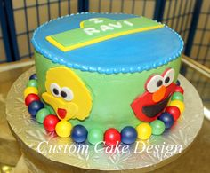 Sesame Place themed cake  www.CustomCakeDesign.com