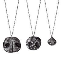 CUSTOM PET NOSE PRINT NECKLACES|UncommonGoods.com.   They send u a kit to make a mold of animal nose send it back n ur custom necklace will arrive