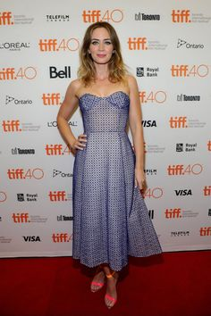 Pin for Later: The Prettiest Dresses We Ever Did See Are on the Red Carpet at TIFF Emily Blunt The star looked lovely in a strapless blue dress and eye-catching neon sandals.