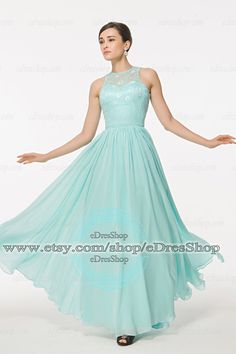 Illusion Lace Ice Blue Prom dresses 2014Dress for by eDresShop