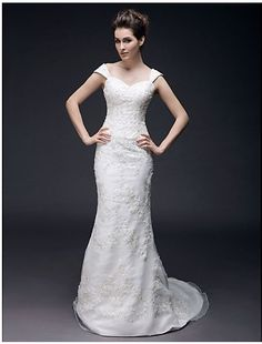 Cheap Free Shipping Plus Size Trumpet/ Mermaid Off-the-shoulder Sweep/ Brush Train Organza Wedding Dress 2013 at TheDressUnion.com