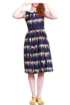 Iris Dress in Navy Budgie