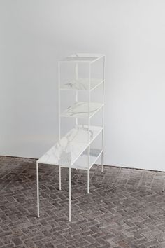 muller van severen - marble shelf - rack + table marble - steel / calacatta marble - h:190 x b:180 x d:45 cm