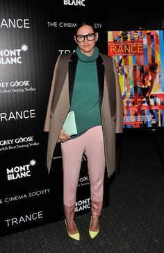 Jenna brings colour-blocking into the new season with sugary shades of pink, lemon and green for theTrance premiere in New York.