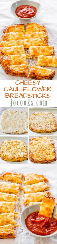 Cheesy Cauliflower Breadsticks: this was really pretty good, I steamed and then mashed the cauliflower by hand, it tastes like potatoes and has a slight quiche like quality to it. Halved recipe and used Colby jack cheese and Italian seasoning. I would try this again w/a sharper cheese. Made 3/27/15
