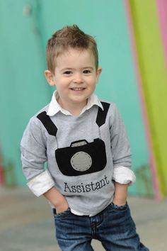 @ColbyPoppleton - Parker might need this ;)   Brady Camera Applique Tee by ElleOllieShop on Etsy, $24.00