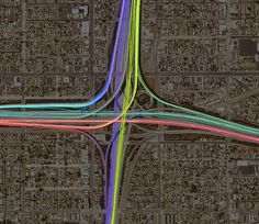 Los Angeles interchange by Eric Fischer, via Flickr GPS traces are colored by direction of travel