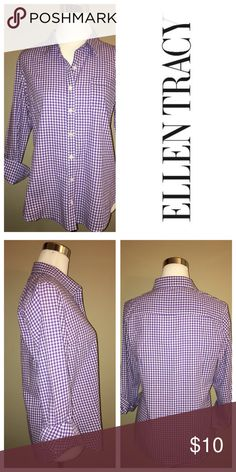ELLEN TRACEY Pinstriped Shirt Gingham Button Down Ellen Tracy Tops Button Down Shirts