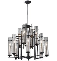 Feiss - F2629/8+4AF/BS - Ethan Antique Forged Iron & Aged Walnut 12 Light Chandelier