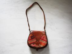 Vintage 1960s Rainbow Woven Brown Tooled Leather Hippie Boho Festival Purse Bag