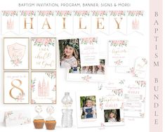 LDS Baptism Kit   LDS Baptism Invitation Girl   Baptism Girl   Editable Baptism Program   Baptism Template   LDS Baptism Printable   Corjl Lds Baptism Program, Baptism Invitations Girl, Baptism Photos, Gold Calligraphy, Thing 1, Boy Baptism, Tent Cards, Name Banners, Cupcake Toppers