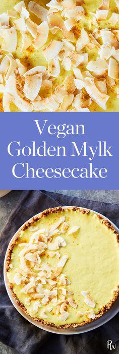 Vegan Golden Mylk Cheesecake #purewow #recipe #vegan #cooking #easy #dessert #healthy #food