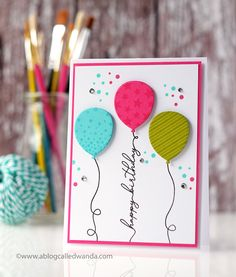 Ink January 2018 Release Week: Birthday Balloons, Birthday Strings, and Never Enough Birthday! Happy Birthday Card by Wanda Guess for Papertrey Ink (January Birthday Card by Wanda Guess for Papertrey Ink (January Creative Birthday Cards, Homemade Birthday Cards, Birthday Cards For Boys, Bday Cards, Happy Birthday Cards, Creative Cards, Homemade Cards, Birthday Boys, Birthday Cards To Make