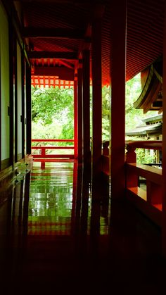 Red corridor of Daikaku-ji temple, Kyoto, Japan