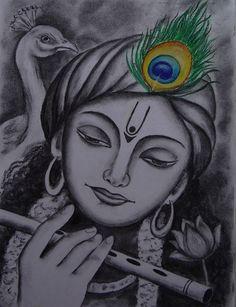 Hues & Shades - Hand Painted Oil & Charcoal in 2020 Pencil Sketch Drawing, Girl Drawing Sketches, Art Drawings Sketches Simple, Pencil Art Drawings, Easy Drawings, Drawing Ideas, Krishna Drawing, Krishna Painting, Radha Krishna Sketch