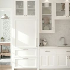 Clean simple white cabinets
