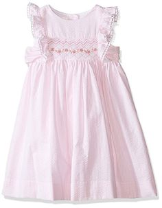 Laura Ashley London Girls' Little Girls' Seersucker Smocked Dress, Pink, 4