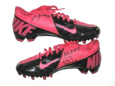 Isaiah Trufant New York Jets Game Worn   Signed Pink   Black Breast Cancer  Awareness Nike Cleats - Worn in 35-9 Win Vs Indianapolis Colts cc4336a80ae