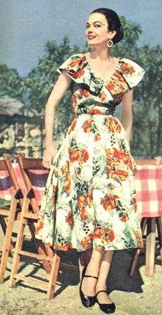 Floral print summer dress, 1954