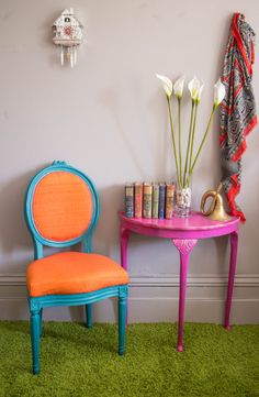 $186. Occasional chair - upcycled in a bold blue/green chalk paint with bright orange silk taffeta and contrast trim