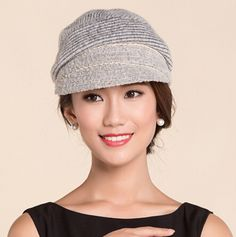 Gray striped newsboy cap for women wool beret winter hats warm