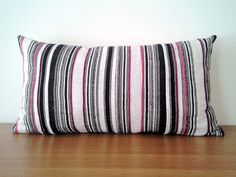"12""x24"" Black and Pink Bohemian Hand Woven Stripe Hemp Pillow Cover, Vintage Organic Hmong Tribal Textile Pillow Case"