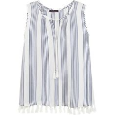 Violeta BY MANGO Fringed Detail Blouse (€52) ❤ liked on Polyvore featuring tops, blouses, sleeveless striped top, stripe top, mango blouse, sleeveless tie blouse and tie blouse